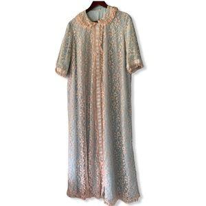Vintage Odette Barsa Lace Overlay Robe Blue